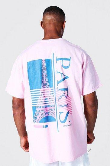 Pink Oversized Paris Back Graphic T-shirt