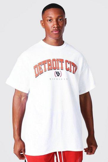 White Oversized Detroit Varsity T-shirt