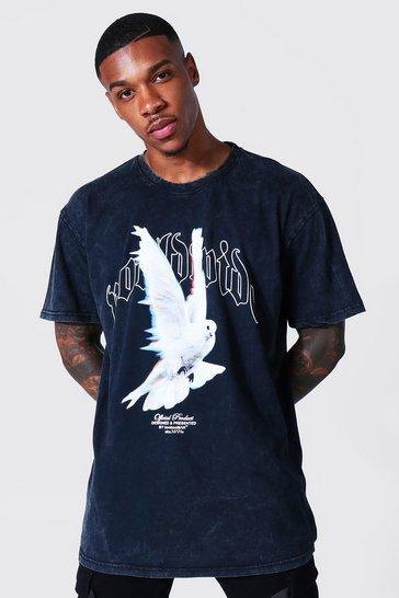 Charcoal grey Oversized Worldwide Acid Wash Graphic T-shirt