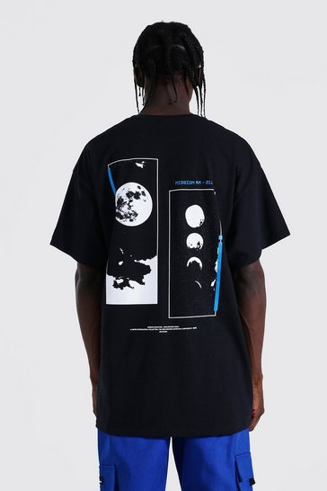 Black Oversized Space Back Graphic T-shirt