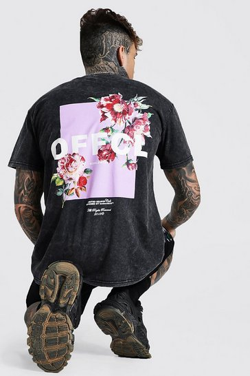 Charcoal grey Oversized Back Graphic Acid Wash T-shirt