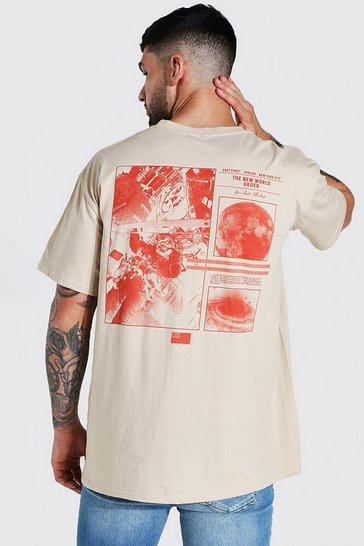 Sand beige Oversized Space Back Graphic T-shirt