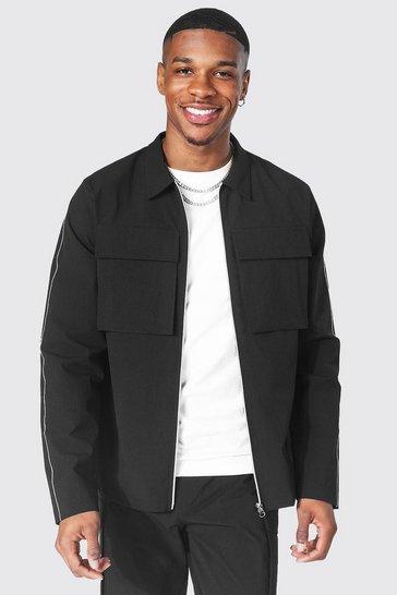 Black Contrast Zip Through Harrington And Jogger Trousers