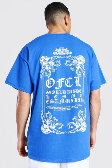 Cobalt blue Oversized Ofcl Back Print T-shirt