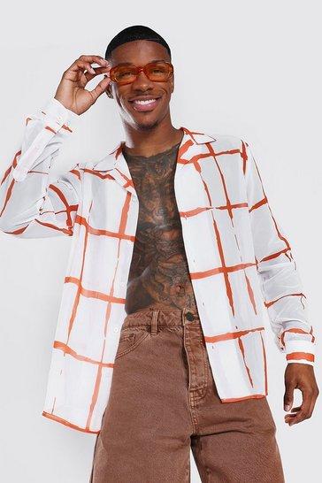 Orange Long Sleeve Revere Chiffon Check Shirt