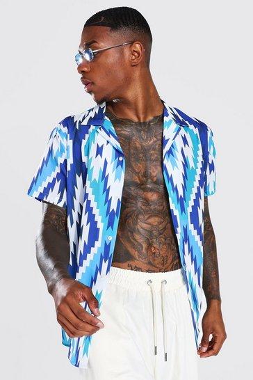 Blue Short Sleeve Revere Aztec Shirt