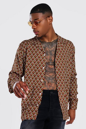 Rust orange Long Sleeve Viscose Revere Geometric Shirt
