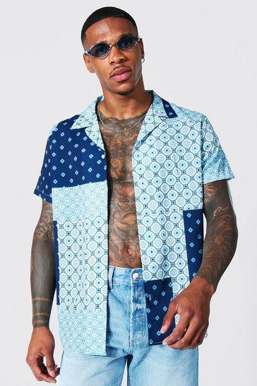 Blue Short Sleeve Revere Geometric Shirt