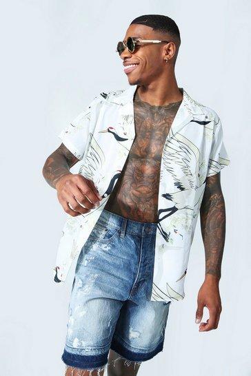 Ecru white Short Sleeve Revere Bird Print Shirt