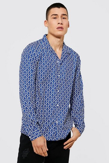 Blue Long Sleeve Revere Geometric Shirt