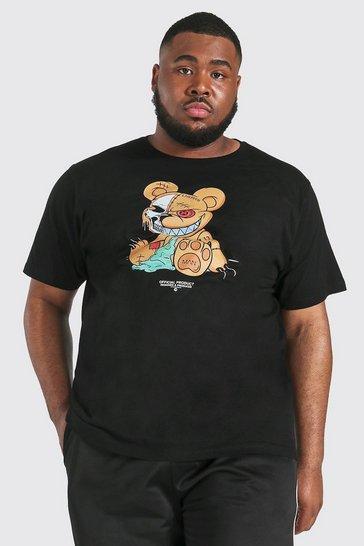 Black Plus Evil Teddy Print T-shirt
