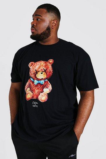 Black Plus Man Collection Print Teddy T-shirt