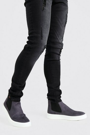 Charcoal grey Faux Suede Trainer Sole Chelsea Boot