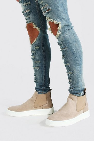 Stone beige Faux Suede Trainer Sole Chelsea Boot