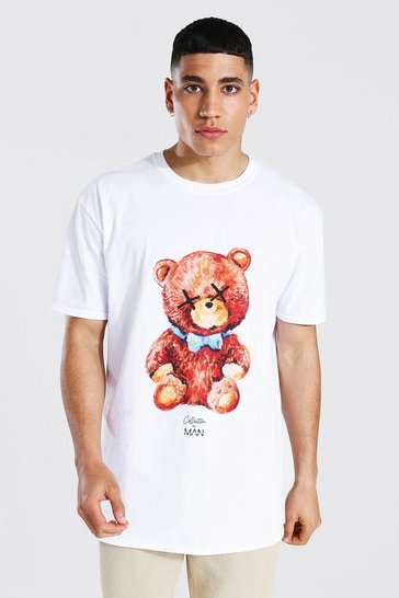 White Oversized Man Collection Teddy T-shirt
