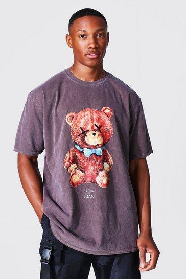 Brown Oversized Man Teddy Overdye T-shirt