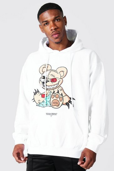 White Oversized Evil Teddy Graphic Hoodie