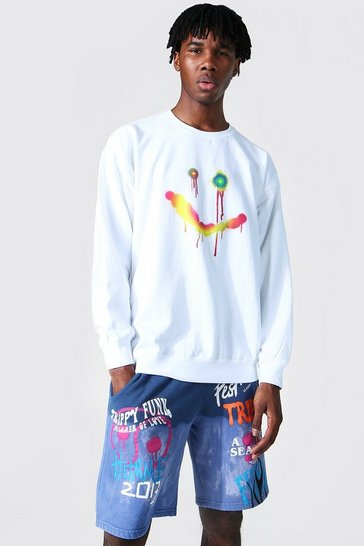 White Oversized Spray Face Print Sweatshirt