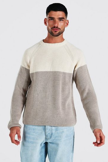 Stone beige Colour Block Chunky Knit Crew Neck Jumper