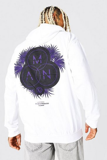 White Oversized Man Official Palm Back Print Hoodie