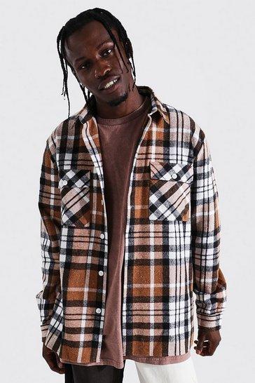 Brown Long Sleeve Check Overshirt Pocket Detail
