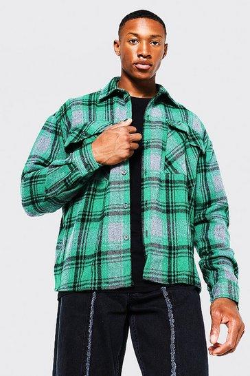 Green Long Sleeve Boxy Check Overshirt