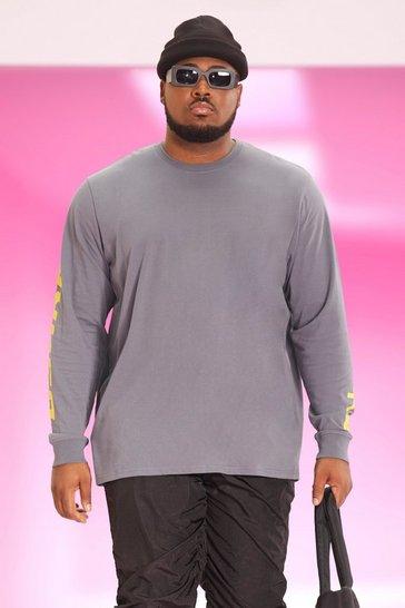 Charcoal grey Plus Long Sleeve Scorpion Back Print T-shirt