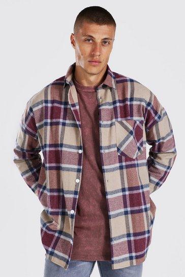 Beige Oversized Long Sleeve Check Overshirt