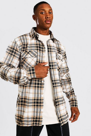 Taupe beige Long Sleeve Check Overshirt