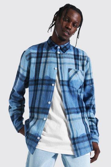 Cobalt blue Long Sleeve Ombre Check Overshirt