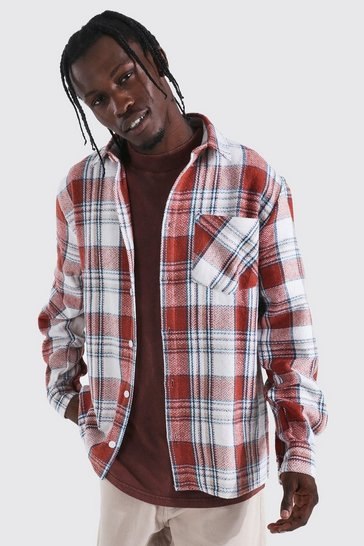 Red Long Sleeve Check Overshirt
