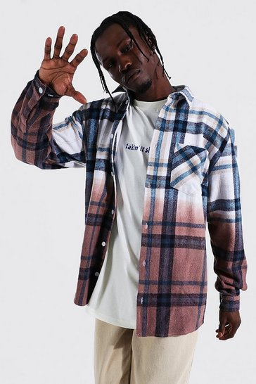 Chocolate brown Long Sleeve Ombre Check Overshirt