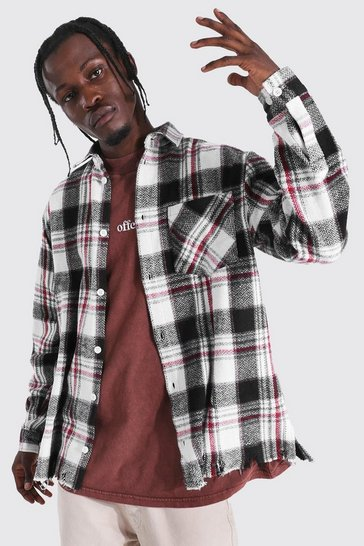 Black Check Overshirt With Split Distressed Hem