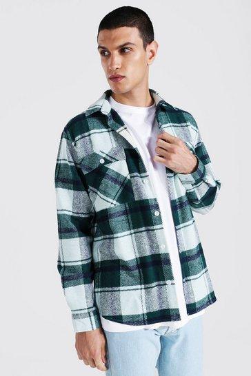 Sage green Long Sleeve Check Overshirt