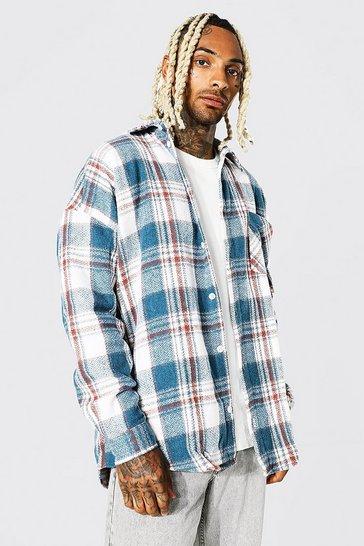 Cobalt blue Oversized Long Sleeve Check Overshirt