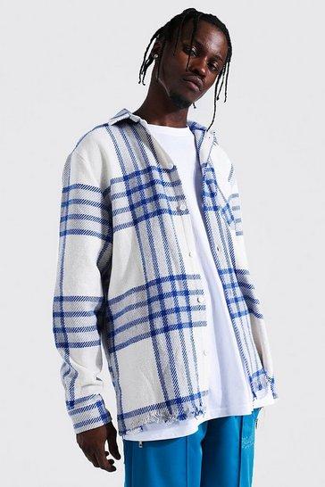Cobalt blue Check Overshirt With Split Distressed Hem
