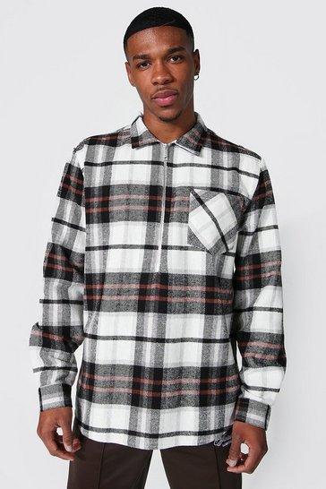 Black Long Sleeve Half Zip Check Overshirt