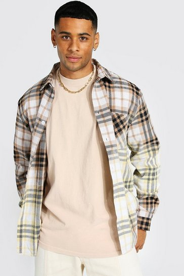 Taupe beige Long Sleeve Bleached Check Overshirt