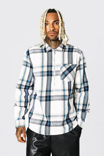 Ecru white Long Sleeve Half Zip Check Overshirt