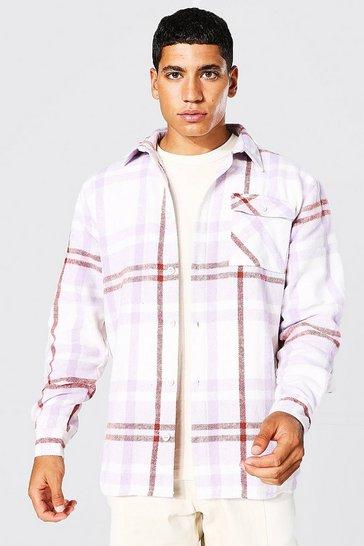 Lilac purple Long Sleeve Check Overshirt With Split Hem