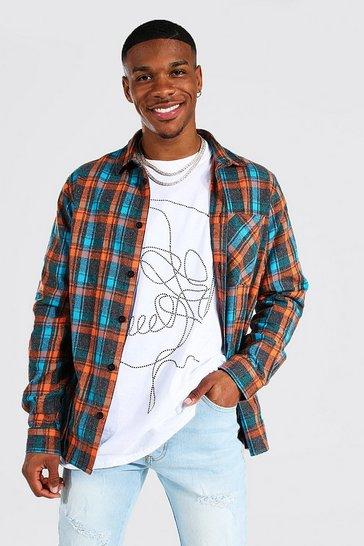 Orange Long Sleeve Check Overshirt