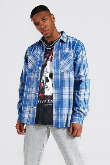 Cobalt blue Long Sleeve Check Overshirt