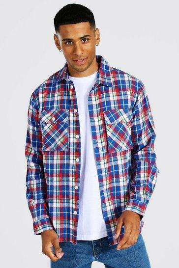 Blue Long Sleeve Check Overshirt With Split Hem