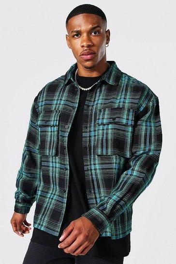 Teal green Long Sleeve Boxy Check Overshirt