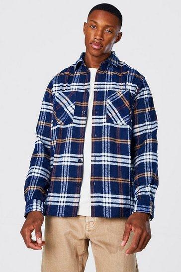 Navy Long Sleeve Check Overshirt