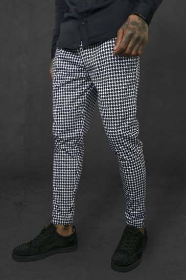 Black Skinny Fit Dogtooth Tricot Joggers