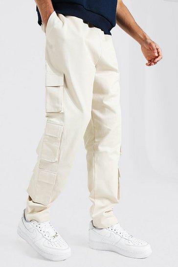 Ecru white Tall Twill Multi Pocket Cargo Jogger