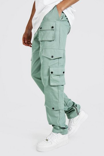 Sage green Tall Relaxed Fit Twill Cargo Trouser
