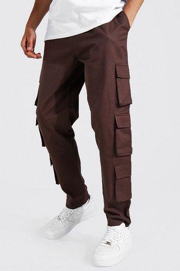 Chocolate brown Tall Twill Multi Pocket Cargo Jogger