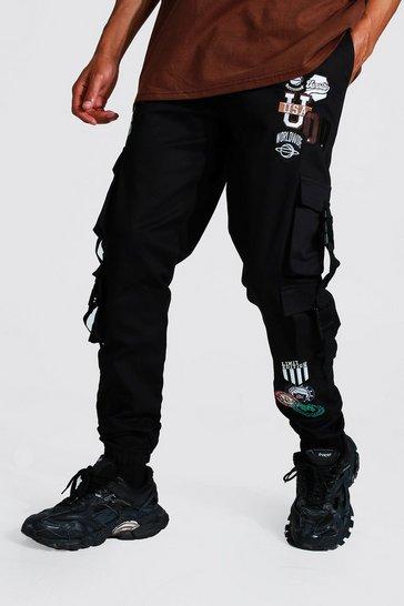 Black Tall Twill Varsity Cargo Jogger